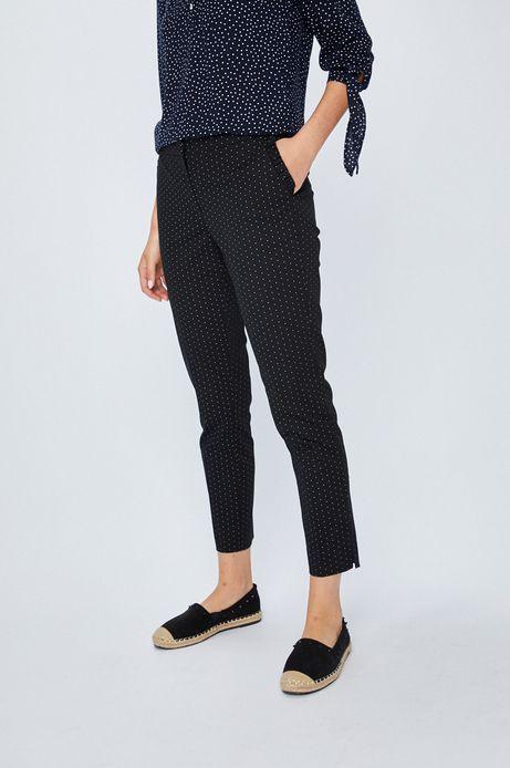 Spodnie damskie czarne proste w kropki