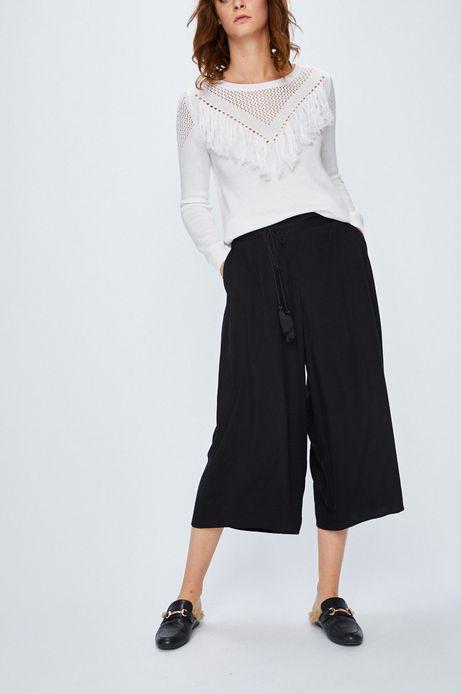 Spodnie damskie czarne luźne z podwyższonym stanem