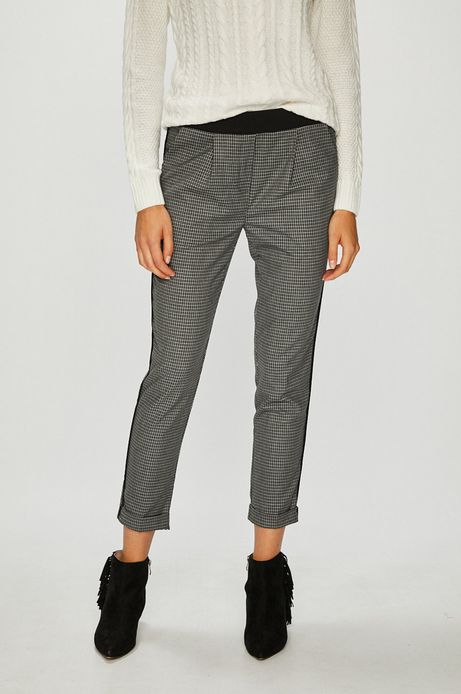 Spodnie damskie szare wzorzyste ze zwężaną nogawką