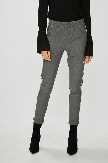 Spodnie damskie szare z podwyższonym stanem z ozdobną lamówka