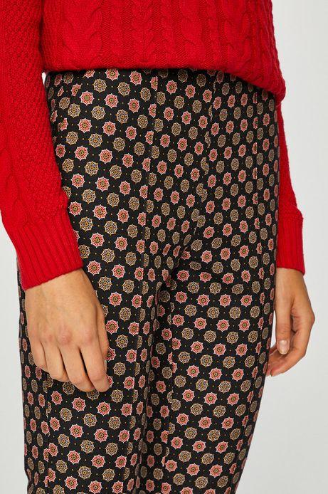 Spodnie damskie proste granatowe we wzory