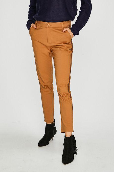 Spodnie damskie brązowe z ozdobną lamówką