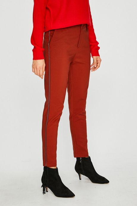 Spodnie damskie czerwone z ozdobną lamówką
