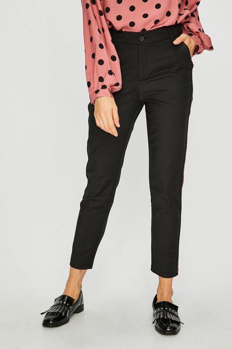 Spodnie damskie czarne z ozdobną lamówką