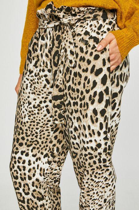 Spodnie damskie w panterkę z ozdobnym wiązaniem