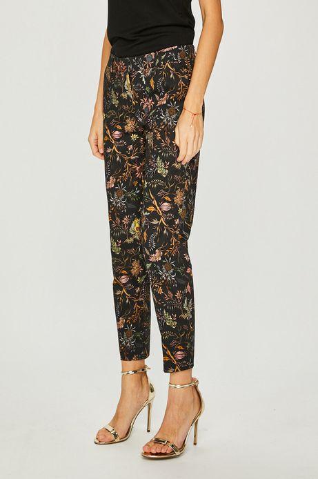 Spodnie damskie czarne wzorzyste