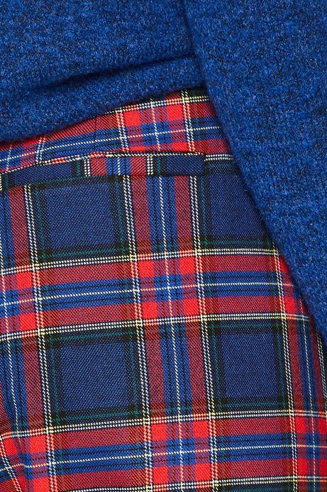 Spodnie damskie w kratę niebieskie
