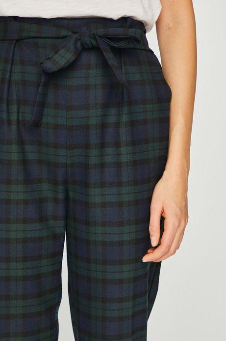 Spodnie damskie w kratkę zielone