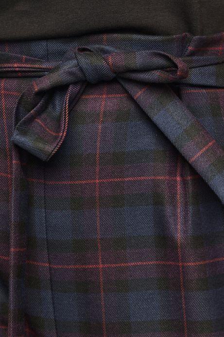 Spodnie damskie w kratę granatowe