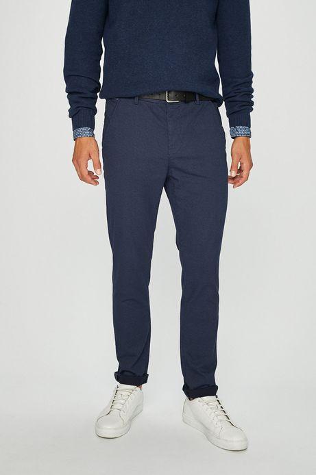 Spodnie męskie chino granatowe wzorzyste
