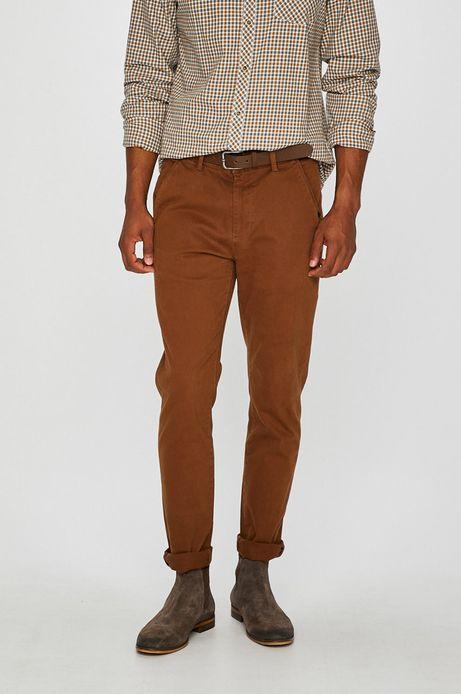 Spodnie męskie chino brązowe wzorzyste