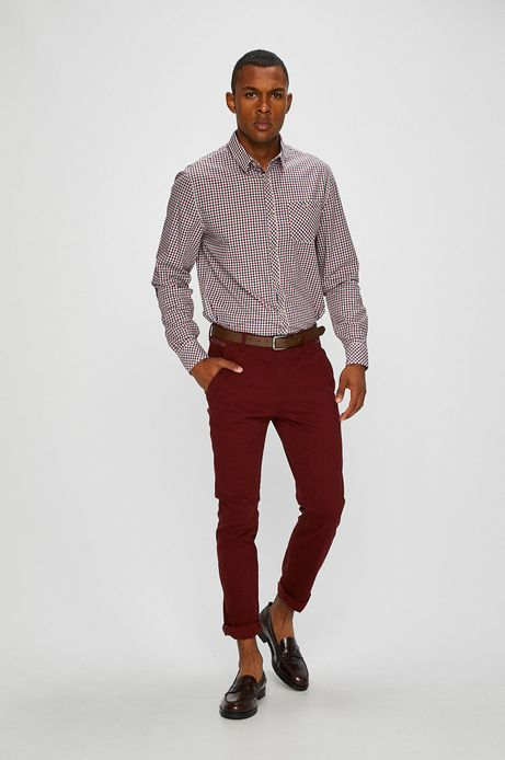 Spodnie męskie chino różowe wzorzyste