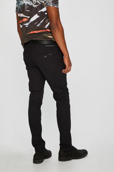 Spodnie męskie chino czarne wzorzyste