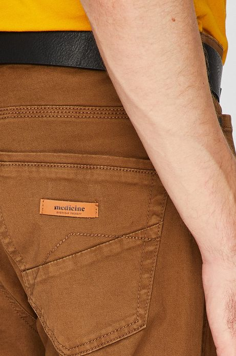 Spodnie męskie regular brązowe gładkie