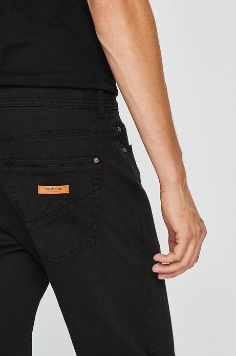 Spodnie męskie regular czarne gładkie