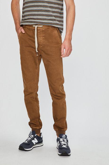 Spodnie męskie brązowe wykończone ściągaczami