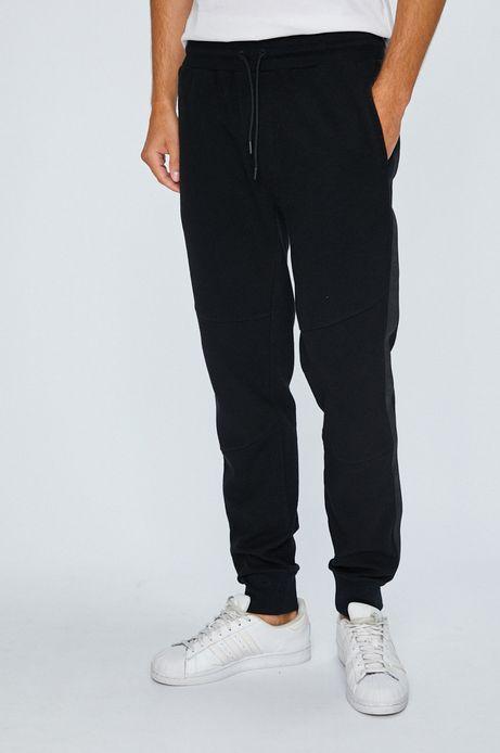 Spodnie męskie czarne z lampasami