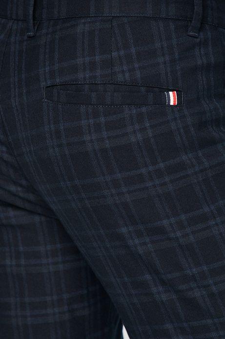 Spodnie męskie regular granatowe w kratkę