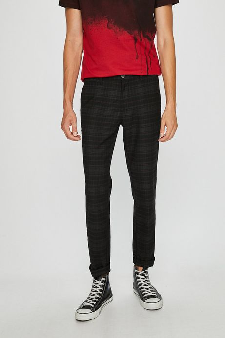Spodnie męskie slim w kratę