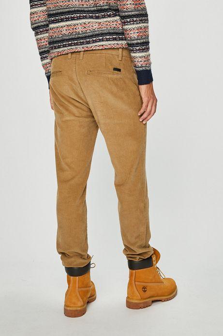 Spodnie męskie sztruksowe żółte ze zwężanymi nogawkami