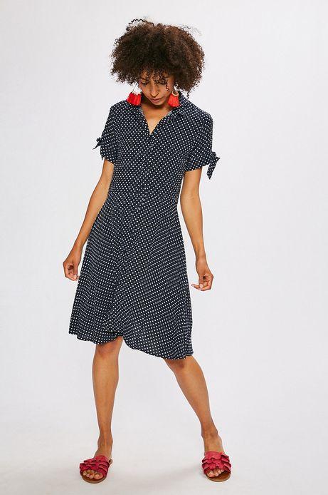 Sukienka damska granatowa w kropki