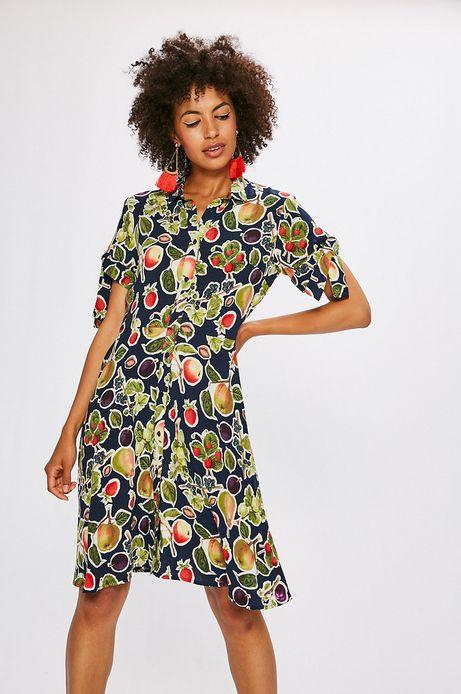 Sukienka damska granatowa w owoce