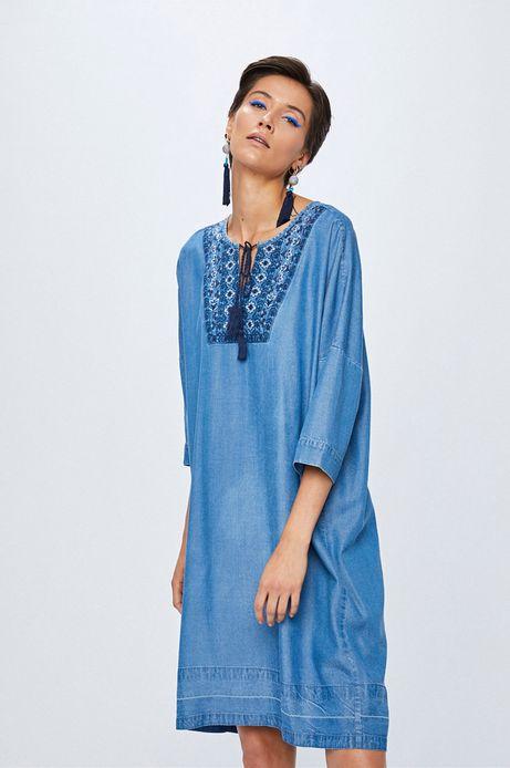 Sukienka damska niebieska z haftem