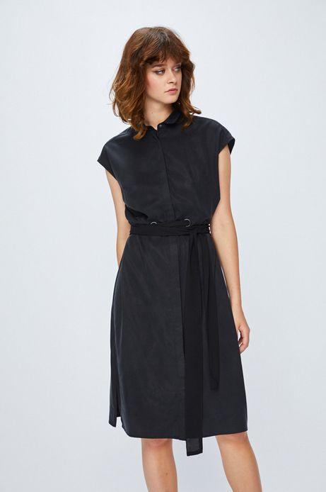 Sukienka damska czarna z wiązaniem w pasie