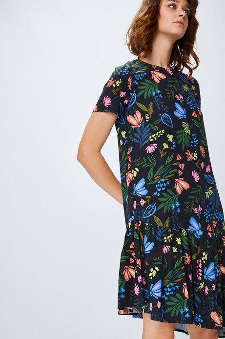 Sukienka damska czarna w kwiaty z falbaną