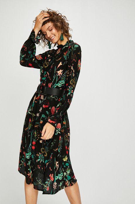 Woman's Sukienka damska czarna we wzory