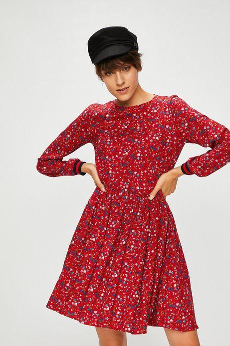 Sukienka damska czerwona wzorzysta rozkloszowana