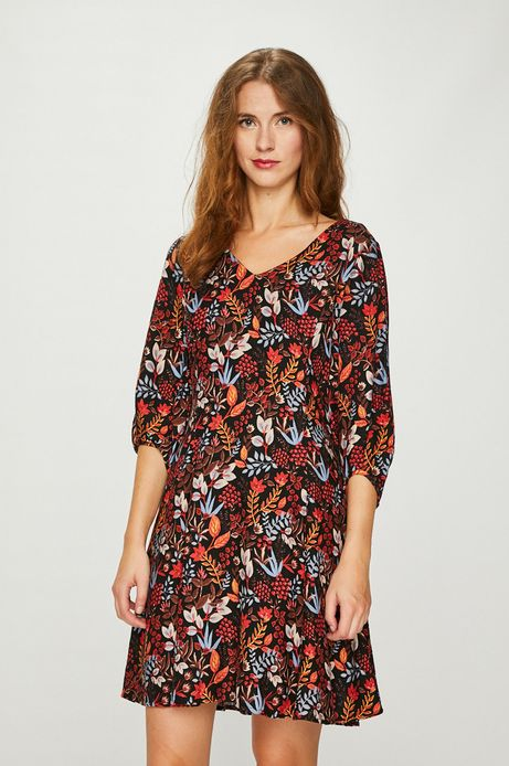 Sukienka damska multicolor ze szpiczastym dekoltem