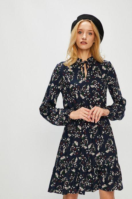 Sukienka damska wzorzysta z ozdobnymi wiązaniami