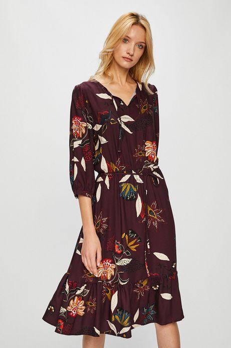 Sukienka damska bordowa w kwiaty ze szpiczastym dekoltem