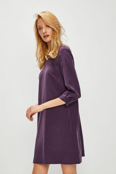 Sukienka damska fioletowa z wiązaniem na plecach