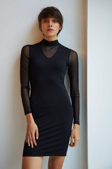 Sukienka damska czarna z transparentnymi wstawkami