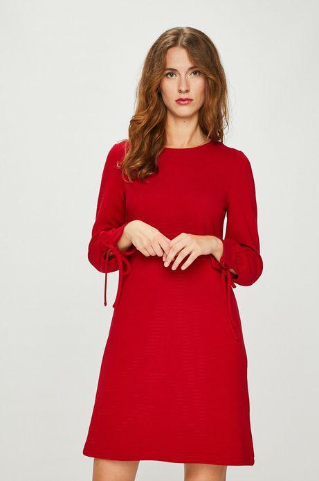 Sukienka damska czerwona gładka z wiązaniem na rękawach