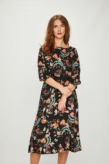 Sukienka damska wzorzysta rozkloszowana