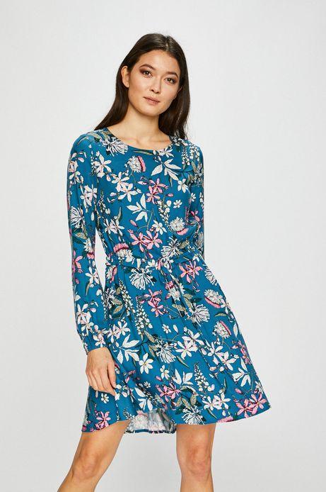 Sukienka damska rozkloszowana wzorzysta z okrągłym dekoltem