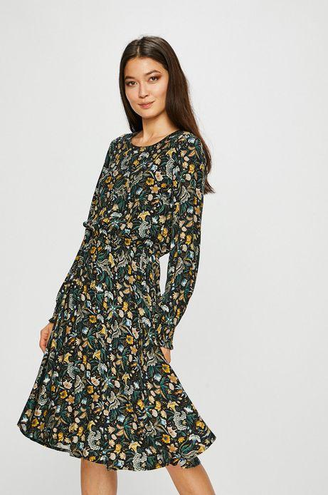 Sukienka damska rozkloszowana wzorzysta z długim rękawem