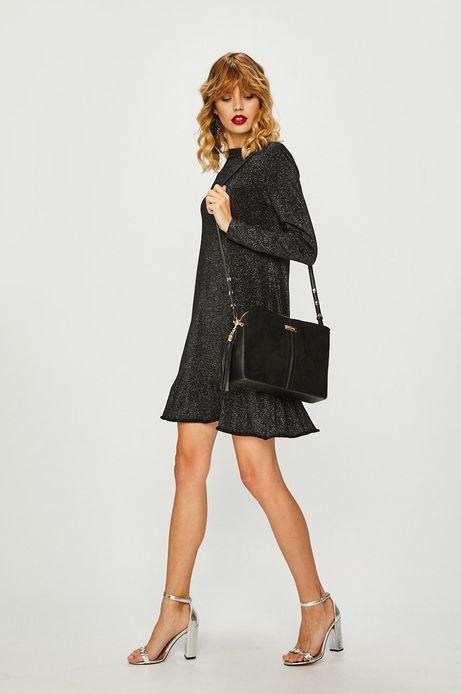 Sukienka damska czarna błyszcząca z wiązaniem na plecach
