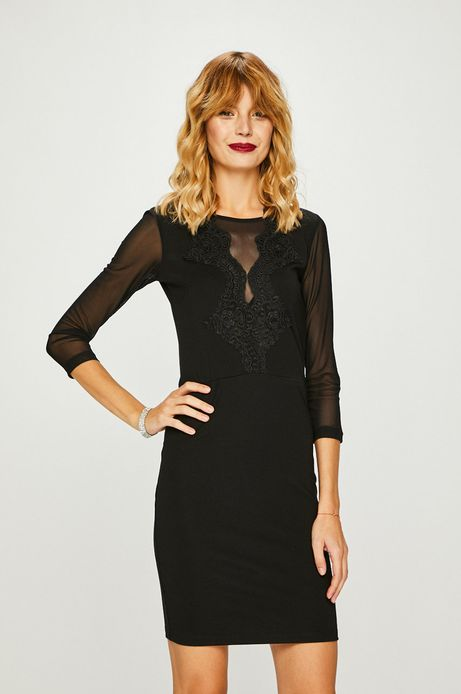 Sukienka damska czarna z ozdobną aplikacją