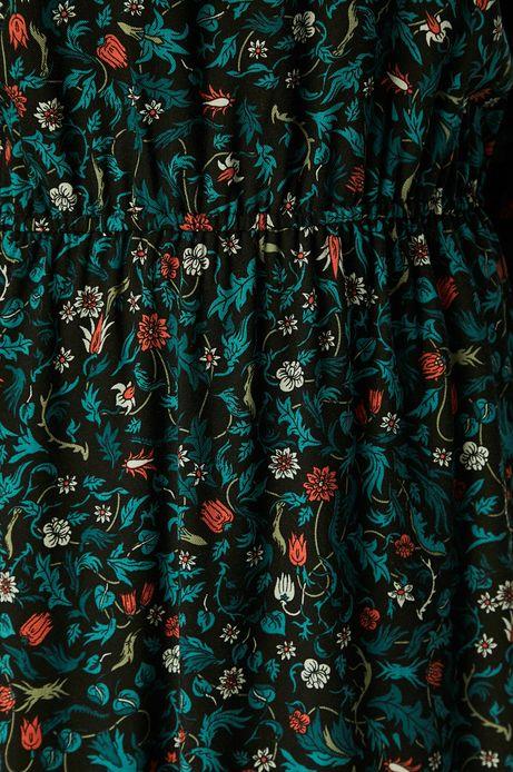Sukienka damska z marszczeniami na rękawach wzorzysta