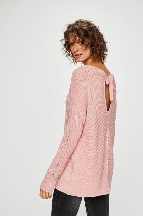 Sweter damski różowy z wiązaniem