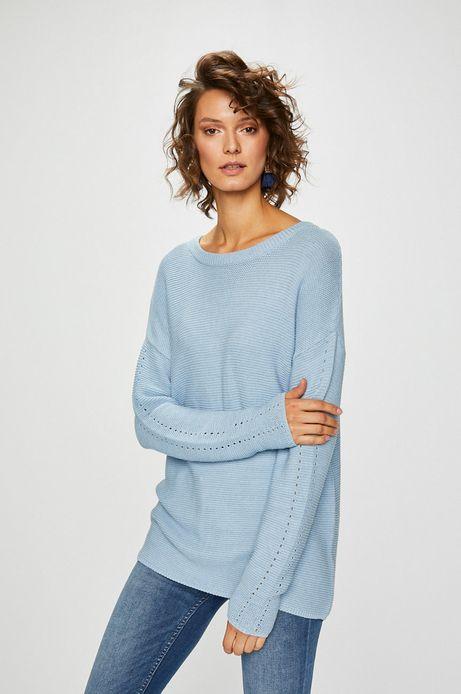 Sweter damski niebieski z wiązaniem