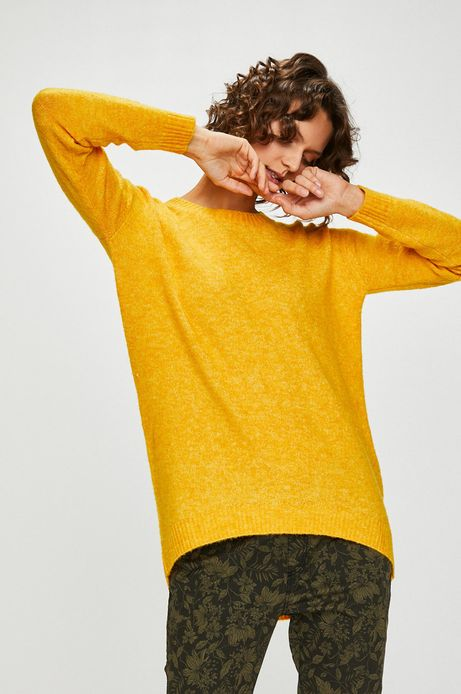 Sweter damski żółty zakładany przez głowę