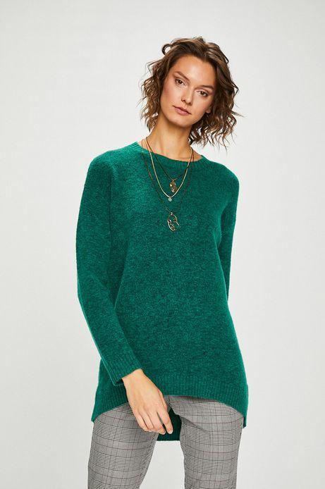 Sweter damski zielony zakładany przez głowę
