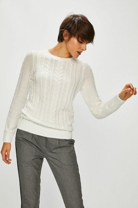 Sweter damski kremowy cienki z okrągłym dekoltem
