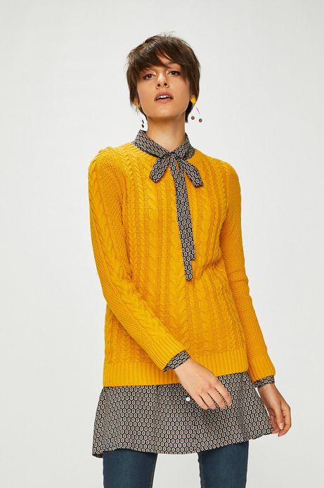 Sweter damski zółty cienki z okrągłym dekoltem