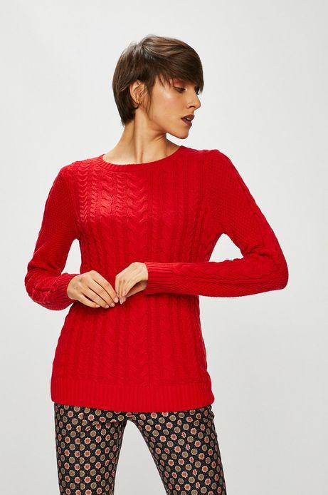 Sweter damski czerwony cienki z okrągłym dekoltem